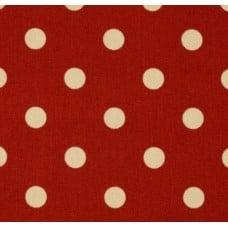 Dots Ivory on Deep Red Indoor Outdoor Fabric