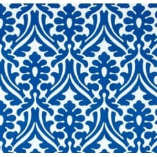 Holly Leaf Indoor Outdoor Fabric in Cobalt and White