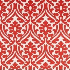 Holly Leaf Indoor Outdoor Fabric in Coral and White