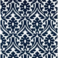 Holly Leaf Indoor Outdoor Fabric in Navy and White