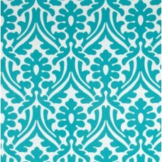 Holly Leaf Indoor Outdoor Fabric in Ocean and White - OFFCUT