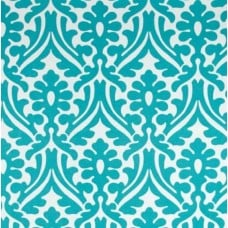 Holly Leaf Indoor Outdoor Fabric in Ocean and White