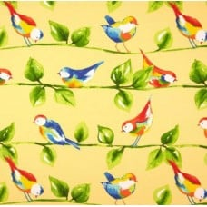 Curious Birds Soleil Yellow Outdoor Fabric