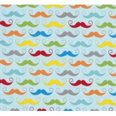 Geekly Chic Moustache Cotton Fabric on Aqua by Riley Blake