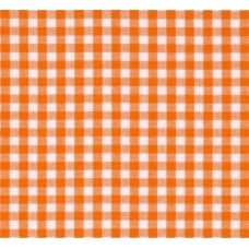 REMNANT - Gingham Cotton Fabric in Orange