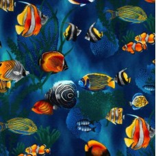 Island Sanctuary Sea Tropical Fish Cobalt by Robert Kaufman