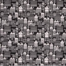 Winter Essentials III Winter Village Cotton Fabric Black