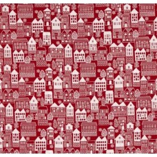 Winter Essentials III Winter Village Cotton Fabric Red