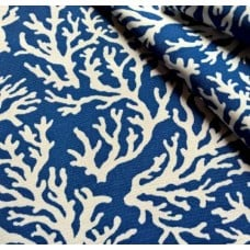 Coral Fayline Outdoor Fabric in Dark Blue