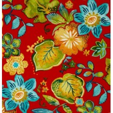 Floral Screen Indoor Outdoor Fabric in Red