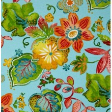Floral Screen Indoor Outdoor Fabric in Sky