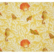 Sea Life Outdoor Polyester Fabric in Golden Tones