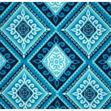 Spanish Tile Indigo Indoor Outdoor Fabric