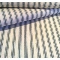 Ticking French Stripe Cotton Fabric Grey and Ivory