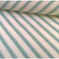 Ticking French Stripe Cotton Fabric Teal Ivory