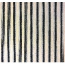 Ticking Stripe Cotton Fabric Black Cream