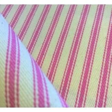 Ticking Stripe Cotton Fabric Pink Cream