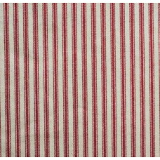 Ticking Stripe Cotton Fabric Red Cream