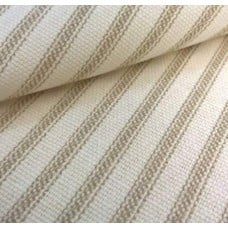 Ticking Stripe Cotton Fabric Taupe Cream