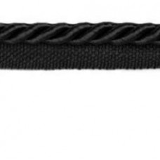 Twisted Cord Trim with Piping Lip Black 6mm per 90cm