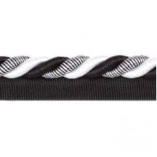 Twisted Cord Trim with Piping Lip Black White 9mm
