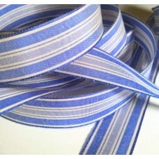 Ribbon Striped Wire Edge Blue White 16mm