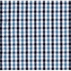Seersucker Check Cotton Fabric Sky Blue