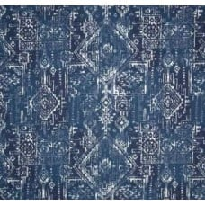 Coastal Block Print in Navy Linen Style Cotton Home Decor Fabric