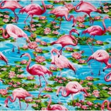 Flamingos in Aqua Cotton Fabric