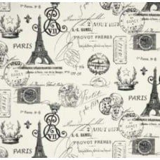 French Stamped in Grey Home Decor Cotton Fabric - OFFCUT
