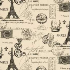 French Stamped in Onyx Home Decor Cotton Fabric