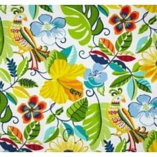 Hawaiian Hibiscus Flowers in Yellow Outdoor Fabric