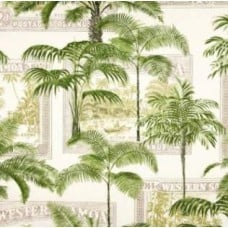 Key Largo Palms in Green Outdoor Fabric