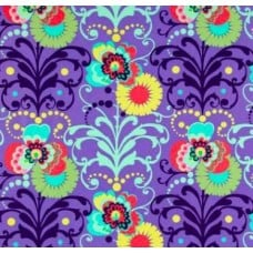 Love Paradise Bouquets Purple Cotton Fabric by Amy Butler