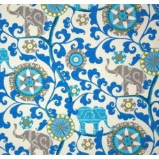 Menagerie Elephants Blue & Natural Outdoor Fabric
