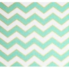 Metallic Chic Chevron in Pearlized Mint By Michael Miller Cotton Fabric