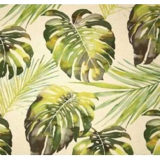 Cut Piece - Monstera Palm Leaves Grande Luxury Linen Blend Upholstery Fabric