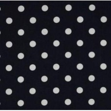 Polka Dot Home Decor Upholstery Cotton Fabric White on Navy - OFFCUT