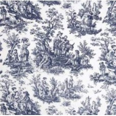 Toile Fabric Dark Blue and White Home Decor Fabric