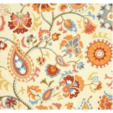 Siren Sun n Shade in Orange and Cream Outdoor Fabric by Waverly