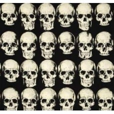 REMNANT - Rad Skulls in Black Cotton Fabric by Alexander Henry