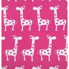 A Giraffe Families in White on Hot Pink Home Decor Cotton Fabric