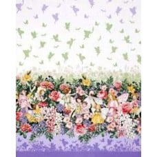 Flower Fairies Dreamland Dream Single Border in Metallic Blossom by Michael Miller