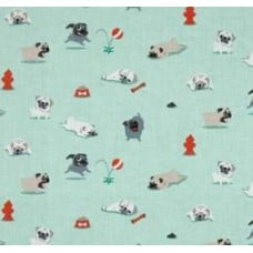 Pugs & Kisses in Seafoam by Michael Miller Cotton & Apparel Fabric