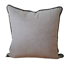 Cushion Cover - Linen in Natural Tan / Black Reverse with Black Piping