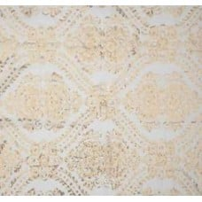 Damask in White with Metallic Gold Polyester Fabric