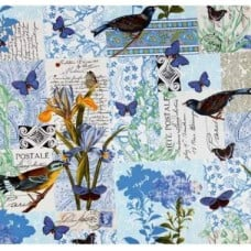 REMNANT - French Journal Collection Blue Cotton Fabric by Michael Miller