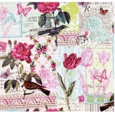 French Journal Collection Pink Cotton Fabric by Michael Miller