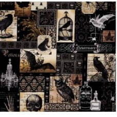 Nevermore Collage Urban Cotton Fabric by Michael Miller