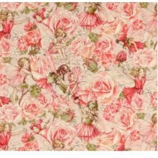 Sweet Flower Fairies Sweet Garden Rose Cotton Fabric by Michael Miller